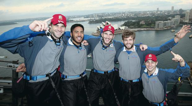 British and Irish Lions Sydney Bridge Climb, Sydney, Australia 13/6/2013. Pictured (L-R) Mike Phillips, Manu Tuilagi, Tom Croft, Geoff Parling and Ben Youngs