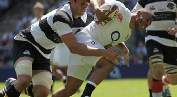 Kyle Eastmond, centre, wil be looking to make an impact in his first start for England