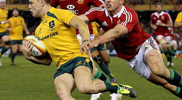 James O'Connor, left, will start on the bench for the Melbourne Rebels on Friday