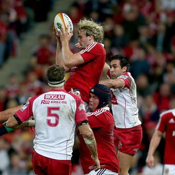 Richie Gray, centre, made his Lions Test debut in Sunday's thrilling win over Australia