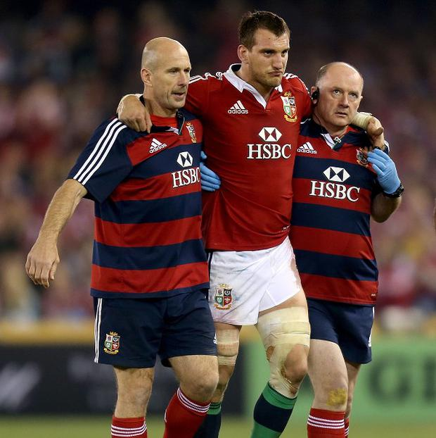 Sam Warburton was injured during the Lions' second Test defeat against Australia