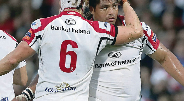 Nice try: Nick Williams is congratulated by Mike McComish after scoring for Ulster against Leinster