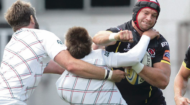Off you go: Ulster lock Dan Tuohy was sin-binned for this clash with Leicester's Toby Flood