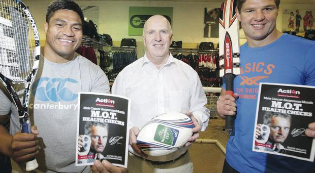 Charity effort: Helping raise support for Action Cancer's latest campaign are Paul Rothwell from Podium along with Ulster players Nick Williams and Johann Muller