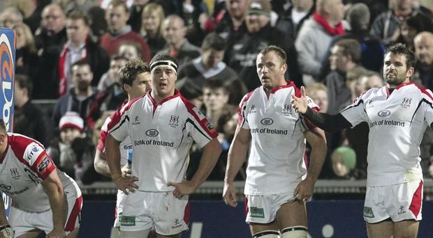 Take the strain: Ulster players stare defeat in the face at Ravenhill