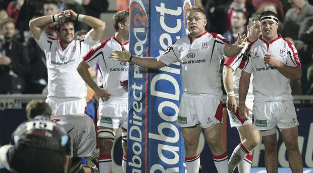 Final act: James Eddie prepares to kick the points that beat Ulster
