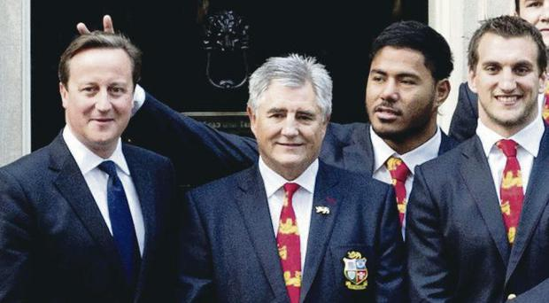 Common approach: Manu Tuilagi received a strong reaction for his prank outside Number 10 as the Lions met David Cameron
