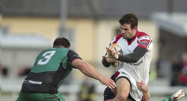 Attacking force: Ulster's Jared Payne powers away from Connacht's Willie Faloon and Nathan White