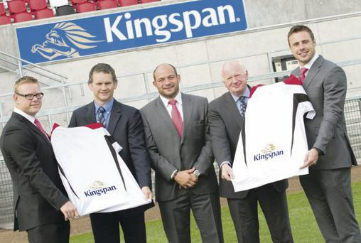 Getting shirty: Ulster forward Tom Court, Alan Wright Sales Director Kingspan Environmental Ltd, Ulster hooker Rory Best, Philip Browne Sales Director Kingspan Sensor and Ulster winger Tommy Bowe at the launch to announce shirt sponsor Kingspan