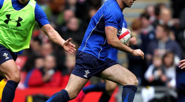 Mike Phillips (right) in action during Tuesday's open training session at the Millennium Stadium.