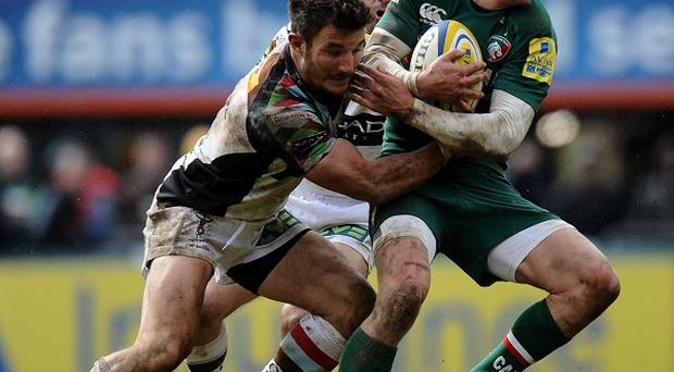 Harlequins' George Lowe, left, will miss the rest of the season due to a neck injury