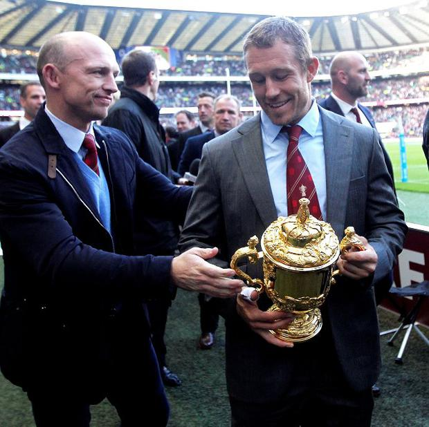 England's World Cup winners that lifted the Webb Ellis Trophy a decade ago were paraded at half-time at Twickenham