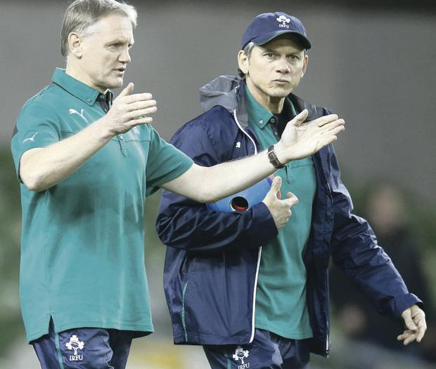 Ireland's head coach Joe Schmidt (left) and assistant Les Kiss plot Samoa's downfall