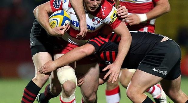 Tim Molenaar in Gloucester action, before the Kiwi centre's move to Harlequins.