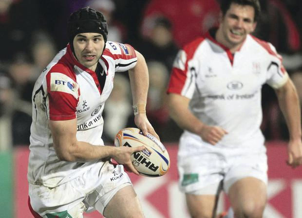 On the ball: James McKinney stood up and made his mark in Ulster's heavy win over Edinburgh