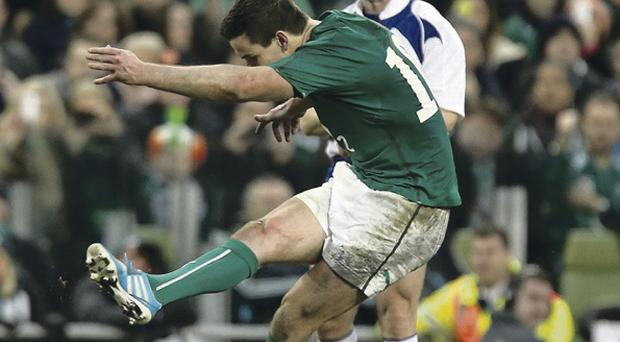 Ireland's Jonathan Sexton misses a penalty near the end of the game
