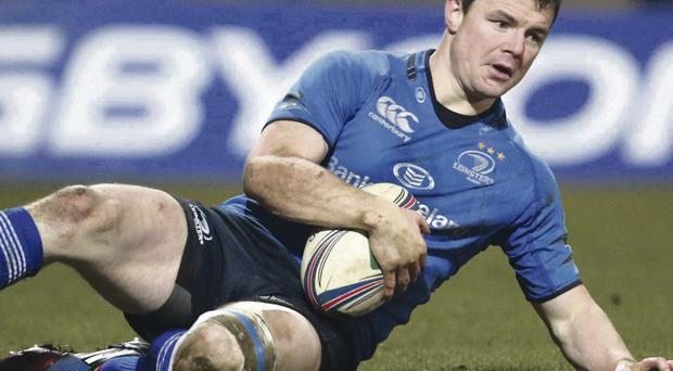 Leinster's Brian O'Driscoll scores a try to contribute to his team's magnificent victory over Northampton