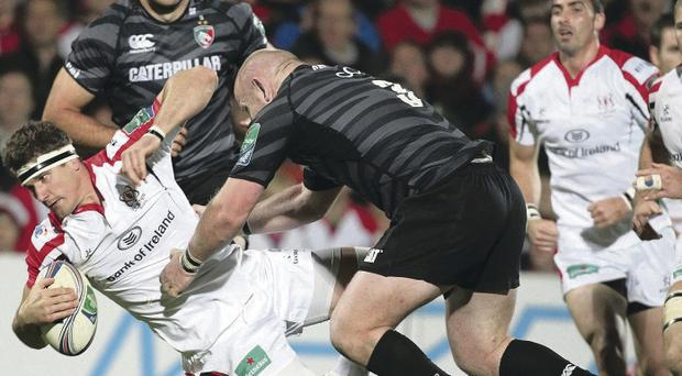 Tight battle: Ulster's Robbie Diack in action against Leicester's Dan Cole during the home win at Ravenhill in October