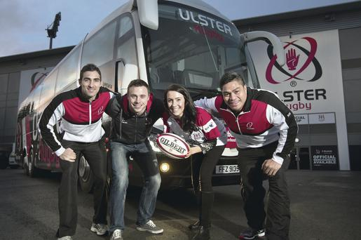 On the buses: Ulster Rugby players Ruan Pienaar, Tommy Bowe and Nick Williams give Translink's Danielle Beswick a helping hand to announce the re-appointment of Ulsterbus Tours as the Official Coach Travel Partner of Ulster Rugby and offer fans the unique opportunity to hire the official team coach. Anyone heading to Ravenhill matches can also use a special Translink Metro service from Belfast city centre to the stadium grounds. For further information click www.translink.co.uk/ulsterrugby or call 028 9033 7004