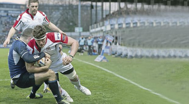 Fond memory: Robbie Diack, captain tonight, scores against Leinster at the RDS