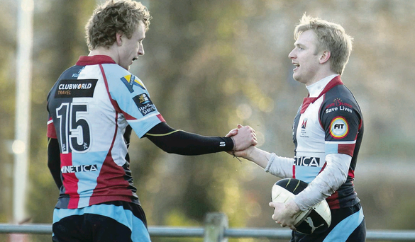 Quins' Harry Howard and Andrew Pollock celebrate