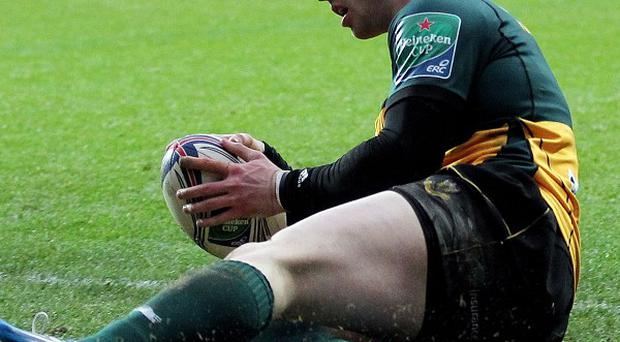 Northampton's George North scores their first try in their Heineken Cup win over Ospreys in Wales.