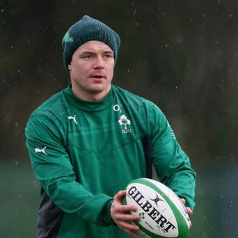 Brian O'Driscoll will set a new all-time Ireland caps record of 129 against Scotland
