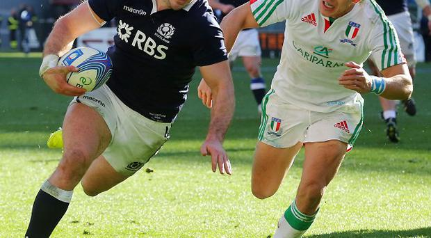 Alex Dunbar, left, scored two tries in Scotland's win over Italy
