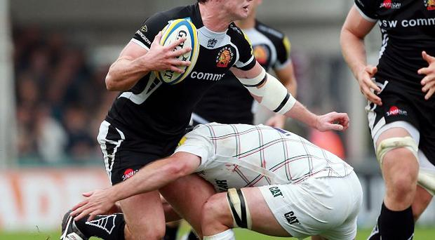 Ian Whitten, here being tackled, was among the tryscorers for Exeter in their win over London Irish.