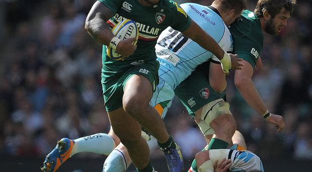 Leicester's Manu Tuilagi, pictured with the ball, made his return from injury at Newcastle