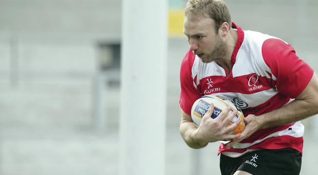 Stephen Ferris in training yesterday ahead of his expected Ulster comeback