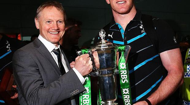 Captain Paul O'Connell, right, believes boss Joe Schmidt, left, can inspire Ireland to a credible Rugby World Cup 2015 push