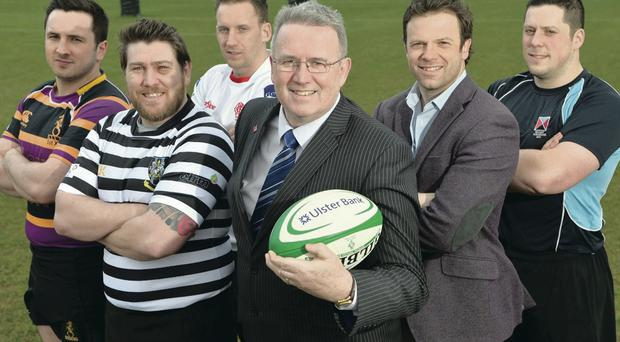 Bank on it: Local club captains and players were joined by Stephen Cruise, Head of Branch Banking, Ulster Bank and Ulster Bank Rugby Ambassador Bryn Cunningham