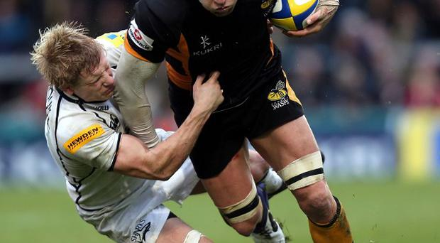 Wasps flanker James Haskell, right
