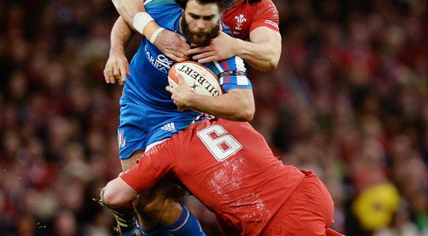 New Sale signing Luke McLean, centre, in action for Italy against Wales during this season's RBS 6 Nations Championship
