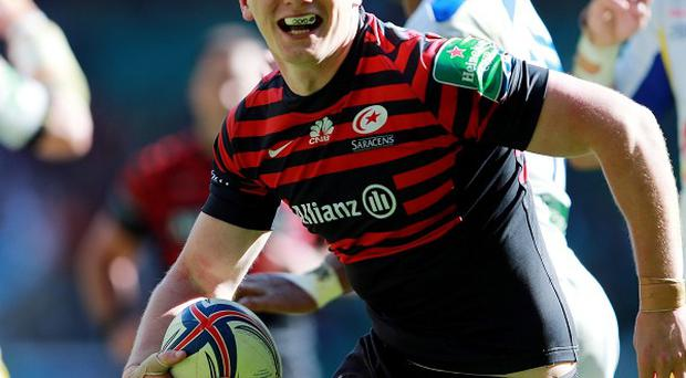 Owen Farrell celebrates scoring a try in the Heineken Cup semi-final victory against Clermont Auvergne last month