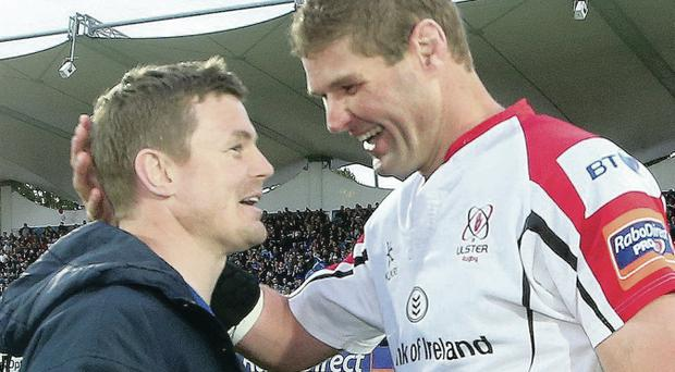 Goodbye: Johann Muller (right) and Brian O'Driscoll after match