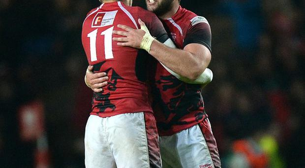 Nick Scott, left, and London Welsh team-mate Nathan Vella celebrate their side's win