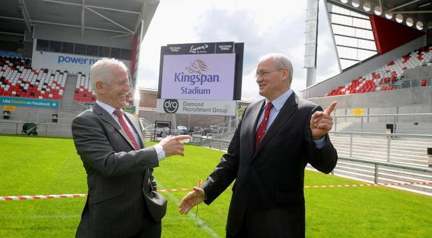 Pointing the way: Managing Director of Kingspan Pat Freeman (left) and CEO of Ulster Rugby Shane Logan (right) announce the deal yesterday