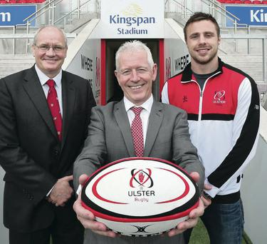 Name game: Shane Logan, Ulster Rugby Chief Exec, Pat Freeman Kingspan Environmental and Tommy Bowe launch the new deal
