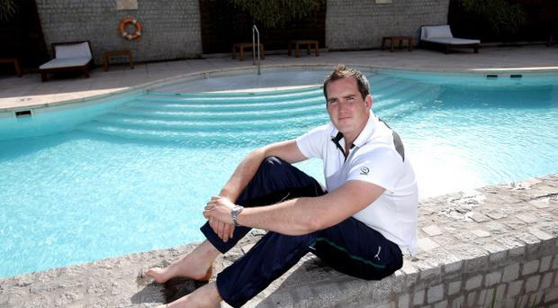 Soaking it up: A confident Devin Toner relaxes in Argentina