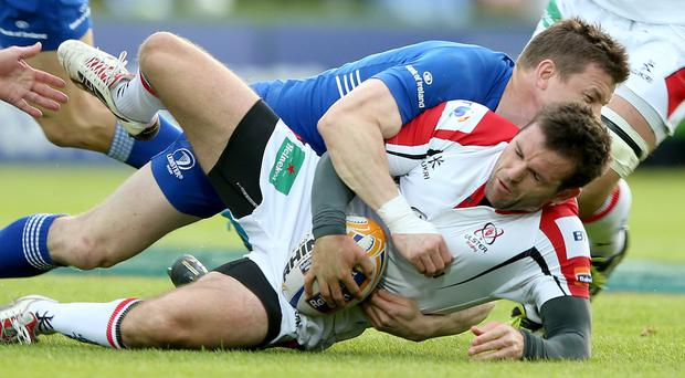 RaboDirect PRO12 Play-Off, RDS, Dublin 17/5/2014 Leinster vs Ulster Leinster's Brian O'Driscoll tackles Jared Payne of Ulster Mandatory Credit ©INPHO/Dan Sheridan