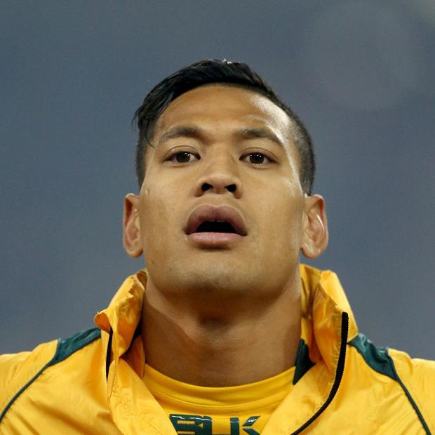 Israel Folau burst through three tackles to score a try against the Highlanders