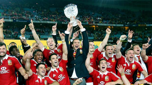 The 2013 British and Irish Lions celebrate their Test series victory against Australia