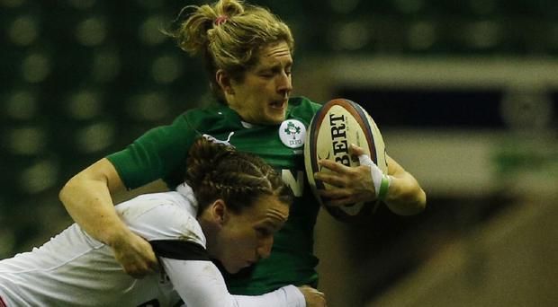 Alison Miller, right, scored Ireland's second try