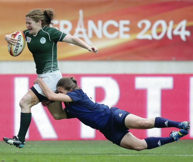 Touch of class: Grace Davitt's solo try put Ireland 15-12 ahead at half time but they couldn't hold their lead after the break