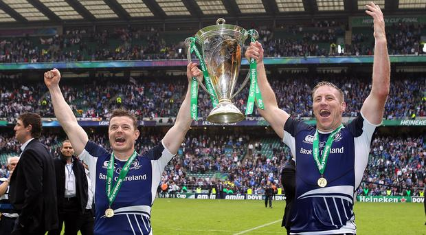 Brad Thorn, right, lifts the Heineken Cup with Brian O'Driscoll in 2012