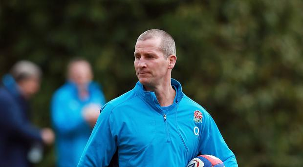 Head coach Stuart Lancaster, pictured, in England training at Pennyhill Park, the home nation's Rugby World Cup 2015 base