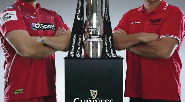 Cup target: Scarlets' Ken Owens and head coach Wayne Pivac in touching distance of the Pro 12 trophy