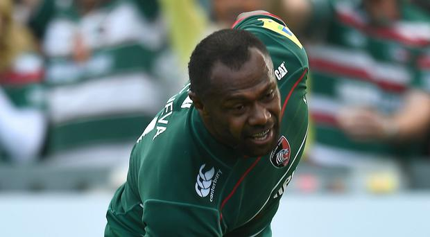 Leicester Tigers' Vereniki Goneva scores his third try during the Aviva Premiership match at Welford Road, Leicester.